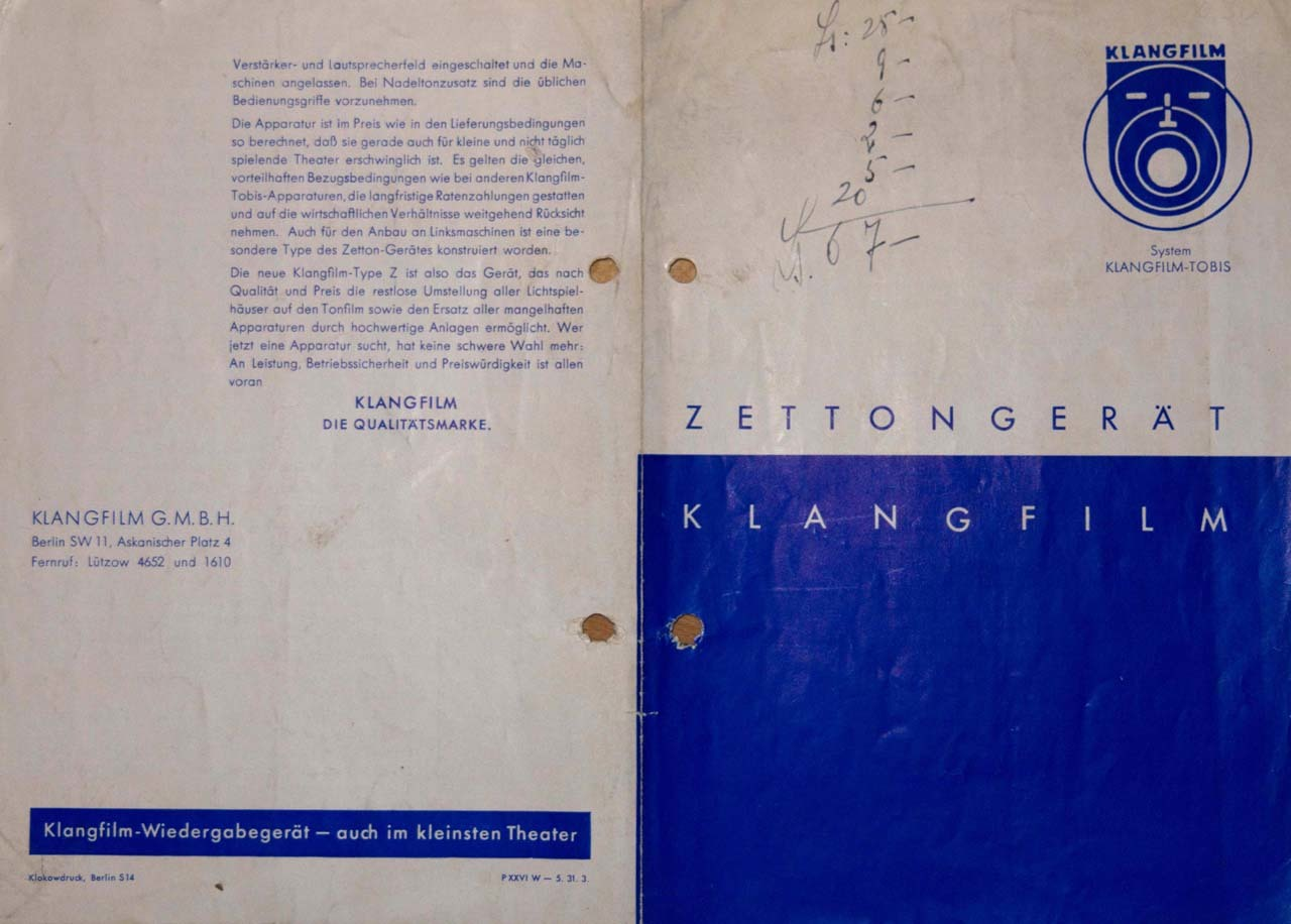 Official brochure of ZETTON apparatus (1931)