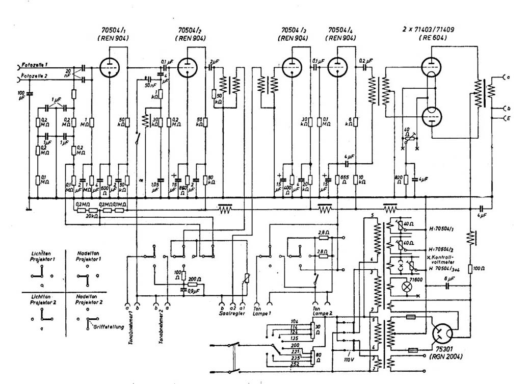 Circuit diagram of ZETTON amplifier (type 32603, 1932)